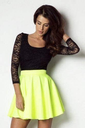 IVON Rozkloszowana spódniczka w neonowym kolorze model sp43  #neon #skirt #fashion #shoponline #shopping #hit #