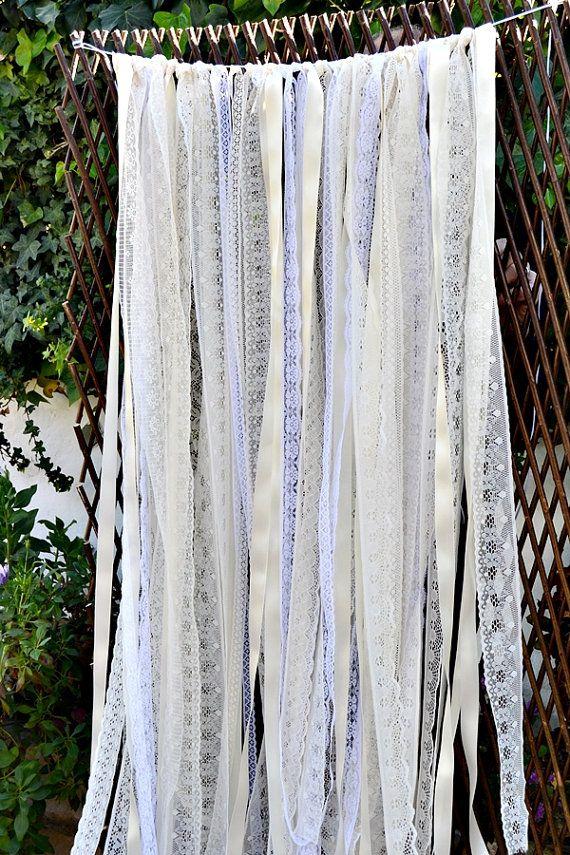 Ivory White Lace Fabric Ribbon Backdrop Garland. Wedding Lace Garland.Lace Photo Backdrop. Boho Wedding.Lace Wedding Backdrop.Rustic Wedding