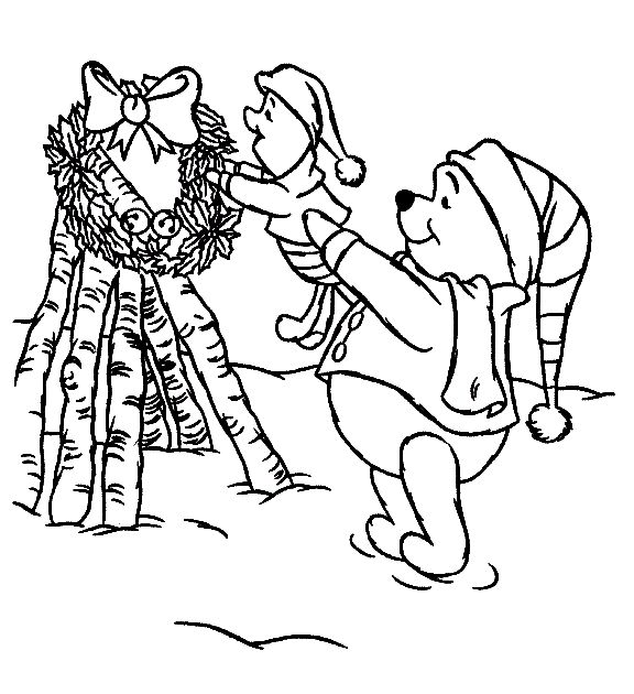 winnie the pooh with piglet christmas coloring pages for kids printable christmas disney coloring pages for kids - Disney Baby Piglet Coloring Pages