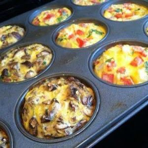 Breakfast Egg Muffins to Go.  I will make mine with turkey sausage, mushrooms and spinach.