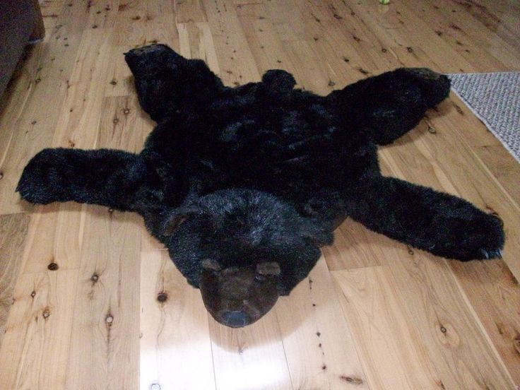 Bear Rug Faux Fur Black Stuffed Head 4 Foot (48