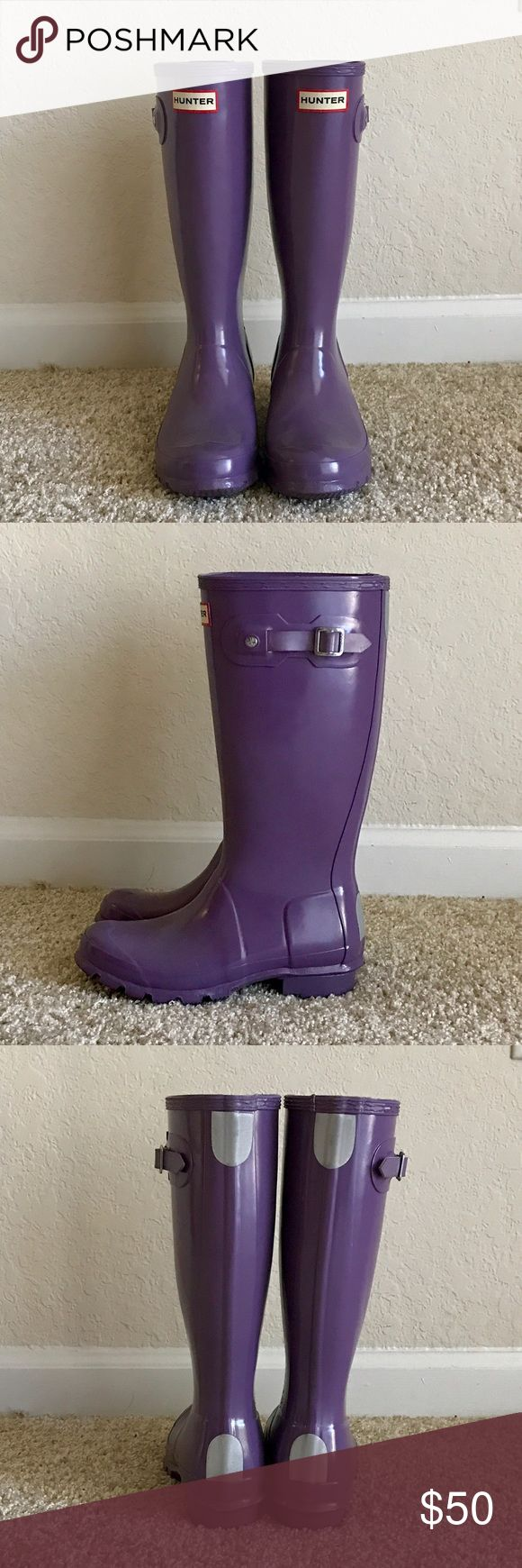 Original Kids Hunter Rain Boots Worn a few times but in great condition! These are kids however they fit a size 6 in women's. I am 5'3 and they come up to the perfect spot below my knees. Hunter Boots Shoes Rain & Snow Boots