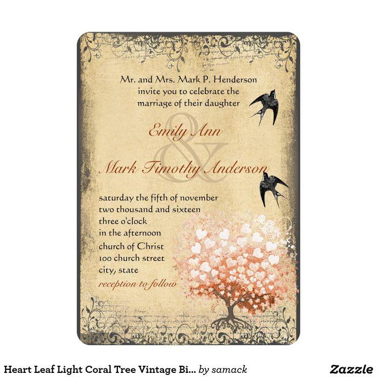 Herz-Blatt-Licht-Korallenbaum-Vintage 12,7 X 17,8 Cm Einladungskarte