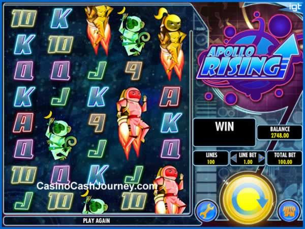 Apollo Rising is a 5-reel, 100 payline, IGT non progressive video slot machine. Apollo Rising slot comes with a wild symbol, scatter symbol, bonus game, free spins and more. More this way... http://blog.casinocashjourney.com/2015/06/13/apollo-rising-slot-by-igt/