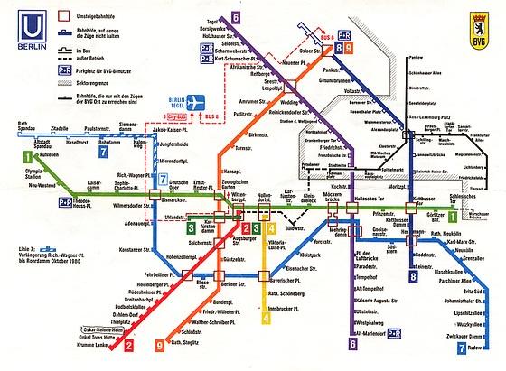 u-Bahn-Plan 1980, inkl. Mauer