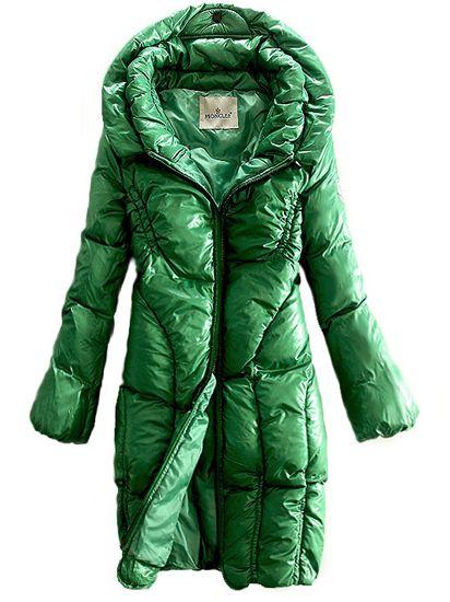 Moncler Women Metallic Fabric Green Down Coat [2899760] - £157.99 :