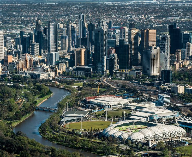 Sports precinct in the foreground, Melbourne in the background
