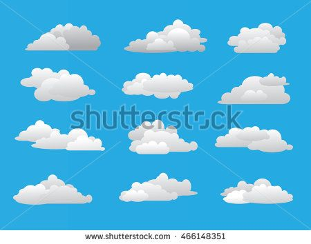 Set cloud combination simple style in blue sky. Vector illustration. Cloud icon.