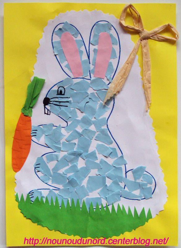 lapin en mosaïques pour pâques, coloriage à imprimer sur mon blog