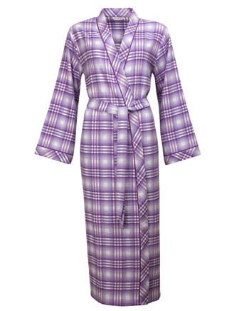 Violet Woven Long Sleeve Brushed Check Long Robe