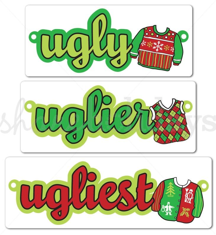 Printable Ugly Sweater Winner Ribbons Template