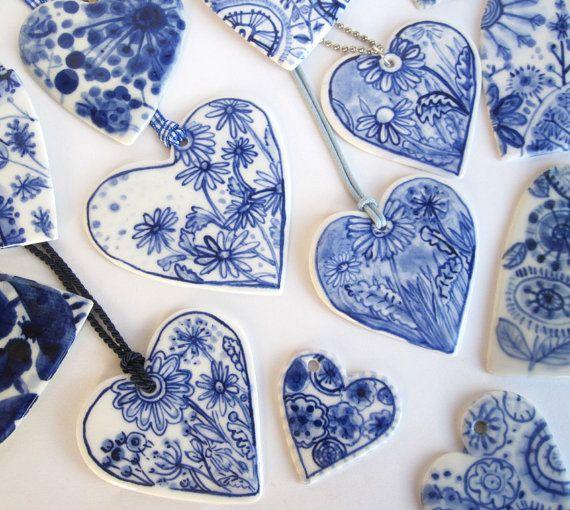 Heart  Delft handpainted porcelain necklace by HarrietDamave