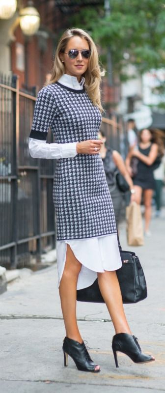 http://www.theclassycubicle.com/2014/09/nyfw-day-5-part-ii-hang-low.html  |  houndstooth sweater dress layered over a long white shirt dress, peep toe lace up booties + large black tote