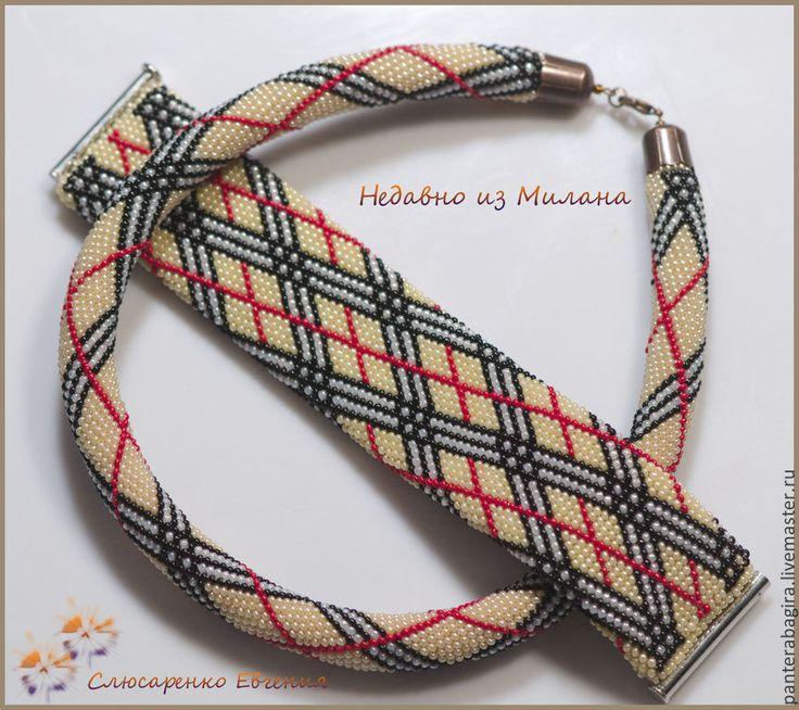 """Купить Комплект """"Недавно из Милана"""" - burberry, браслет, ожерелье, жгут вязанный из бисера, жгут из бисера"""