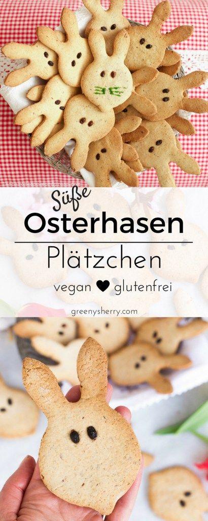 Süße Osterhäschen zum Naschen, perfekt für den Oster-Brunch oder als Geschenk! Vegan und glutenfrei, ohne weißen Industriezucker und natürlich tierleidfrei.www.greenysherry.com #vegan #ostern #kekse #plätzchen #glutenfrei #osterhase #nachhaltig #pflanzlich #laktosefrei #gesund #backen #diy #foodblog