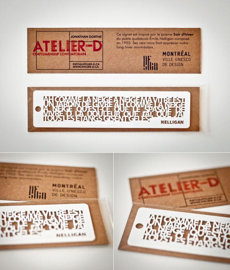 Marque page du poème ''Ah comme la neige a neigé'' de Nelligan créé par le designer Jonathan Dorthe. / Bookmark of a Nelligan poem created by Montreal designer Jonathan Dorthe. http://c2m.tl/1qZYH0q   #C2MTL #Montreal #craft #design
