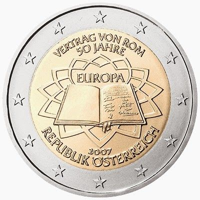 2 euro coins Austria 2007, 50th anniversary of the Treaty of Rome|2 Euro Commemorative Coins