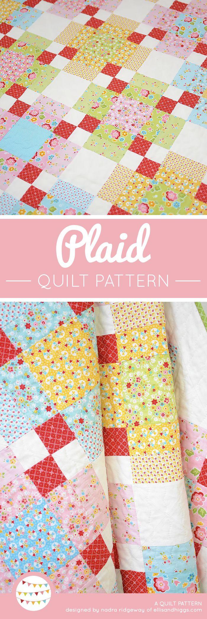 Plaid quilt pattern by Nadra Ridgeway of ellis & higgs. Fast and easy quilt pattern, quilt block. Patchwork Anleitung, Anfänger, Nähanleitung, Mini Quilt, Geschenke nähen, DIY