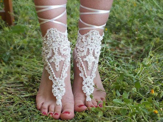 fildişi dantel inciler, gelinlik sandalet, serbest gemi, halhal, bridalla Sahil düğün yalınayak sandalet, halhal, bilezik düğün, gelin ile halhal