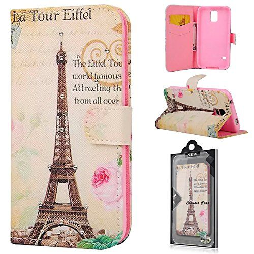 """Samsung Galaxy S5 / S5 Neo Flip Case, Fierella Cartoon Series Premium PU Leather Rose and Eiffel Tower Pattern Flip Protective Case Cover with Magnetic and Stand Function Wallet Book style Case with Card Slot for Samsung Galaxy S5 / S5 Neo ( 5.1"""" Inches) G900 i9600 SM-G903F Flip Case Cover Fierella http://www.amazon.co.uk/dp/B0158G50WS/ref=cm_sw_r_pi_dp_9ZwNwb0DFMEW0"""