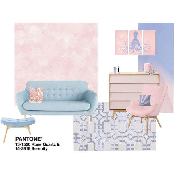 Rose Quartz & Serenity by alice-in-designland on Polyvore featuring interior, interiors, interior design, home, home decor, interior decorating, Surya and Sephora Collection