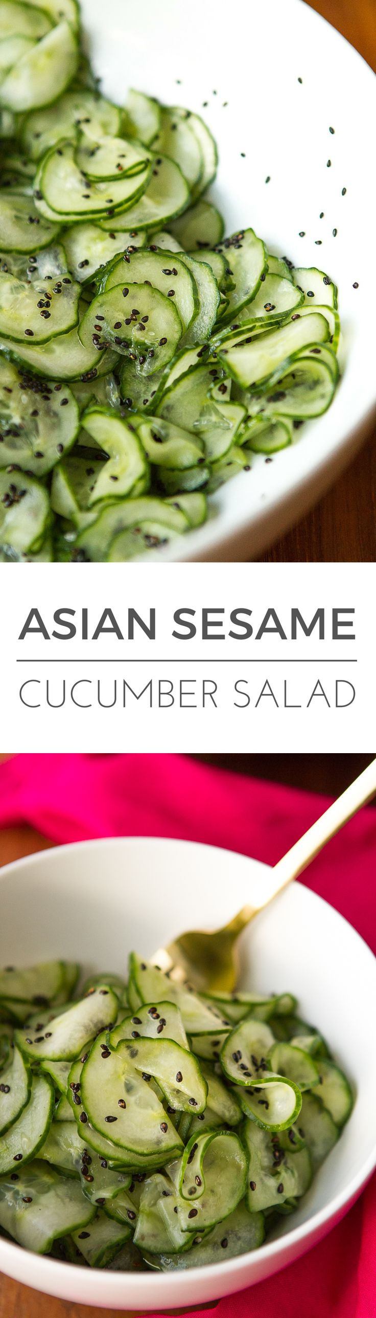 Asian Cucumber Salad -- this simple cucumber salad is super light and refreshing, perfect for hot summer days… Rice vinegar and dark sesame oil, along with toasted sesame seeds give it a delicious Asian flair! | via @unsophisticook on unsophisticook.com
