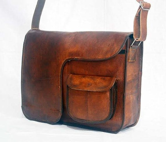 real leather covered messenger satchel Handmade by lavinas on Etsy