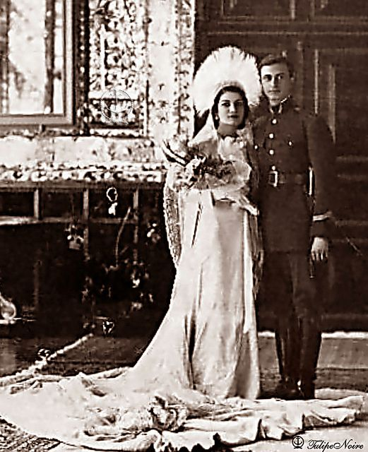 H.H. Princess Ashraf Pahlavi with her first Husband; Ali Mohamed Qavam - The Wedding Day In 1936