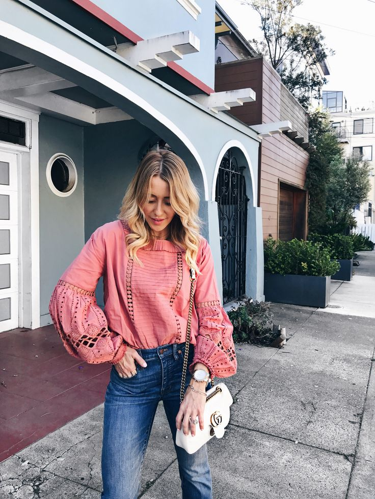 GG MarmontBag, Cutwork Balloon Sleeve Blouse,  cali demi-boot jeans: raw-hem edition    #springstyle #springfashion #casualstyle