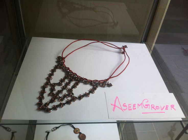 recycled jewellery Art- #bikechain #necklace  #collectionbeautifulyRAW #rejeweled #AseemGrover