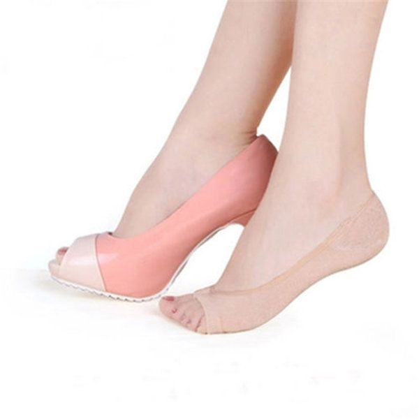 Summer Pure Cotton Low Cut Peep Toe Invisible Skidproof Ankle Liner Socks online…