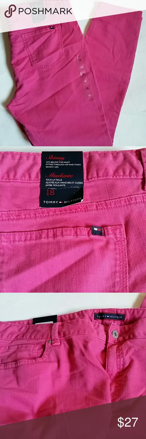 Tommy Hilfiger women pink jeans skinny 18 New with tags, skinny  Hot pink color 39 inches waist  29 inches inseam  I do have bundle discount, other than that all prices are firm!  No low ball offers please Tommy Hilfiger Jeans Skinny