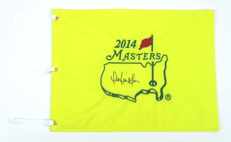 2014 PGA Masters Augusta golf tournament pin flag signed Marc Leishman Australia