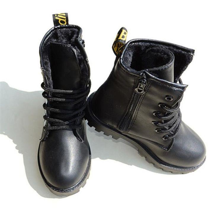 33.99$  Buy here  - Boy's Thermal Snow Boots for Winter PU Leather Zip Children Grils Warm Boots Plush inside Kids Antiskid Boots botines de futbol