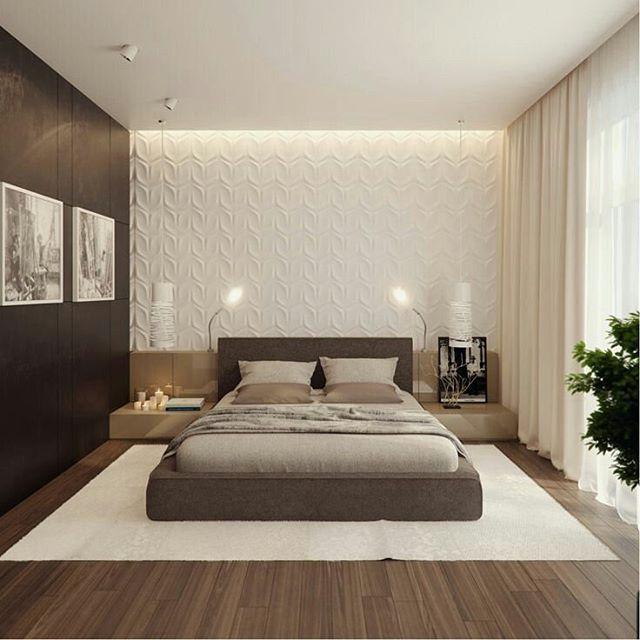 Quarto De Casa Com Piso Laminado De Madeira, Tapete, Parede Em Revestimento  3D, · Bedroom Interior DesignBedroom ...