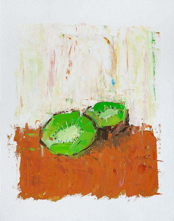 Kiwi Fruit Painting   Small Wall Art   Still Life Painting   Small Oil  Painting