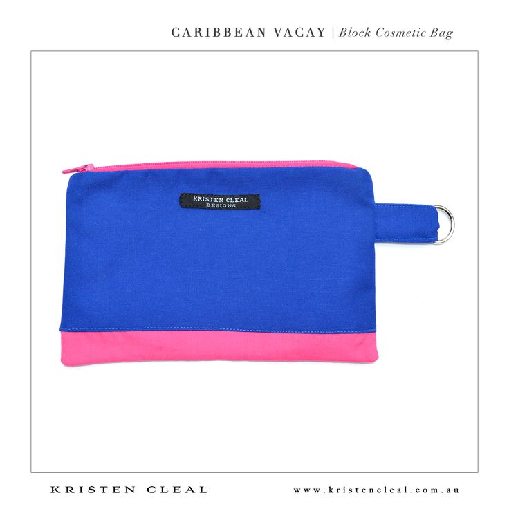 Block Cosmetic Bag by Kristen Cleal Designs  Caribbean Vacay 2014 Collection