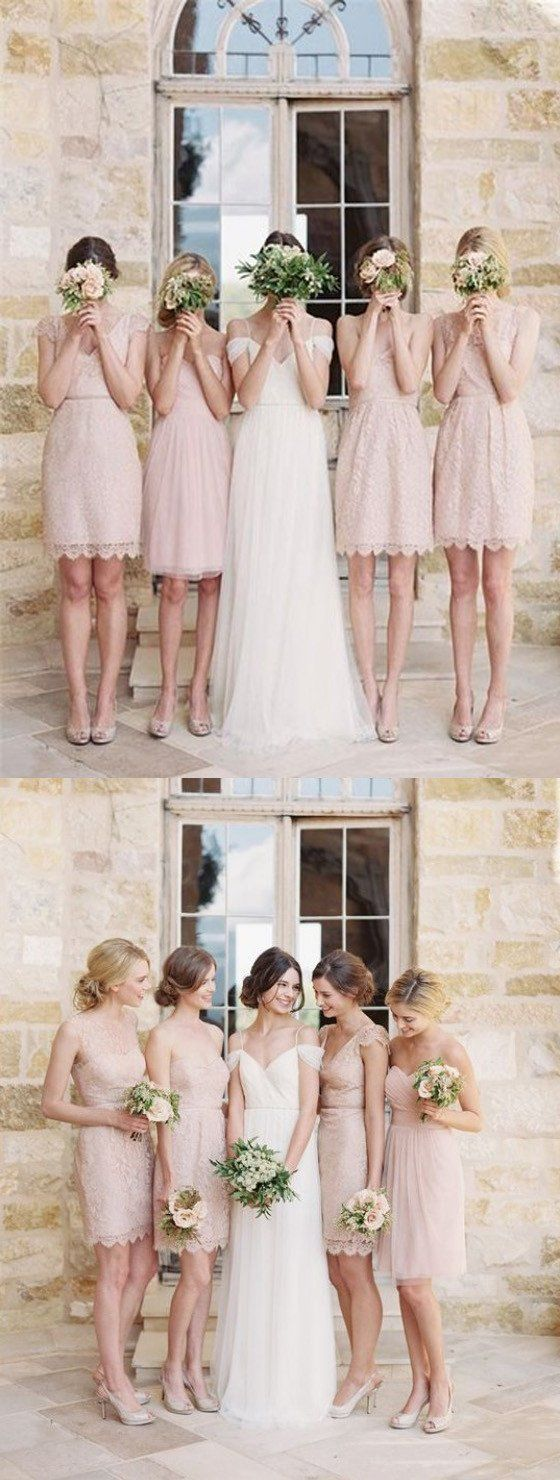 Mismatched Junior Pretty Short Lace Knee-Length Blush Pink Mini Custom Make Discount Bridesmaid Dress, WG115 The short bridesmaid dresses are fully lined, 4 bones in the bodice, chest pad in the bust, lace up back or zipper back are all available, total 126 colors are available.This dress could be custom made, there are no extra cost to do custom size and color.Description1, Material: lace, pongee.2, Color: picture color or other colors, there are 126 colors are available, please contact us…