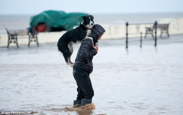 One man and his dog: Sam Davis gives his dog Meg a piggy back through flood water in Cleveland