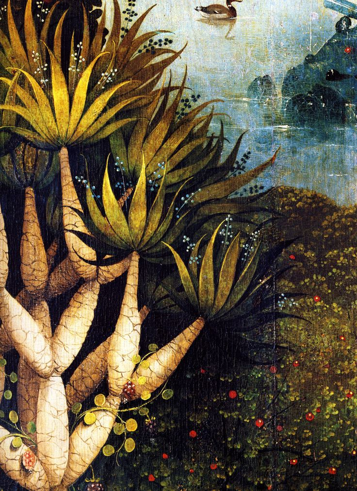 nataliakoptseva: 1480-1490 Hieronymus Bosch The Garden of Earthly Delights, Paradise, detail foliage trees