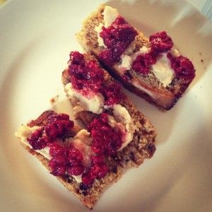 banana bread with coconut condensed milk and berries