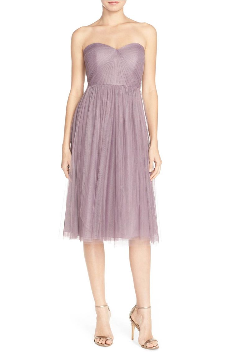 Jenny Yoo Maia Convertible Tulle Tea Length Fit Flare Dress Purple Lilac Wedding Guest
