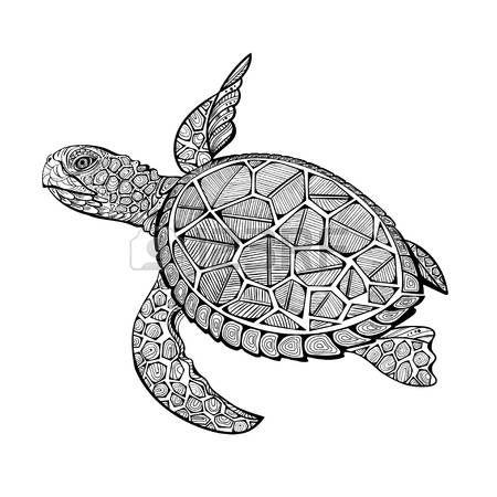 tatuaggio tartaruga: illustrazione di tartaruga marina per le pagine del libro da colorare per bambini e adulti, tatuaggio, effetto shirt design e decorazione.