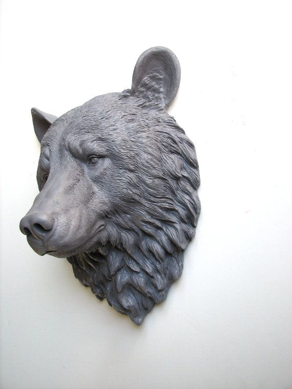 MED. GREY Faux Taxidermy Large Bear Head Wall от mahzerandvee