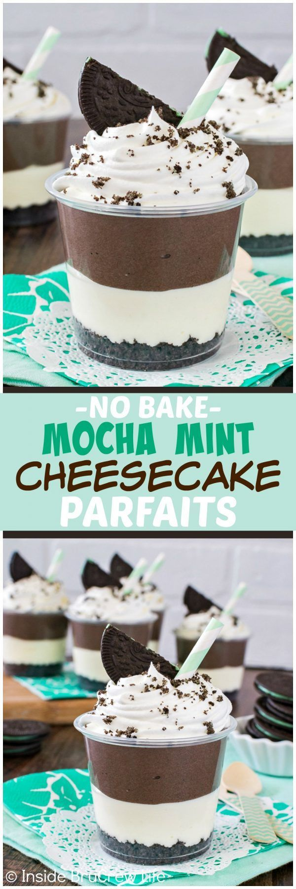 No Bake Mocha Mint Cheesecake Parfaits - layers of mocha and mint cheesecake and cookie crumbs makes this an easy no bake dessert recipe for summer picnics!