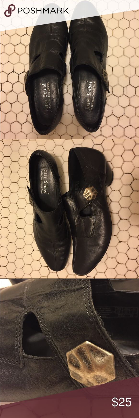 "The European Comfort Shoe Josef Seibel leather shoes. Crazy comfortable!! Velcro strap with cute button detail. 1"" heel. Lightly worn. Not kidding these are comfy!! Labeled as a 41, fits size 10. Josef Seibel Shoes Flats & Loafers"