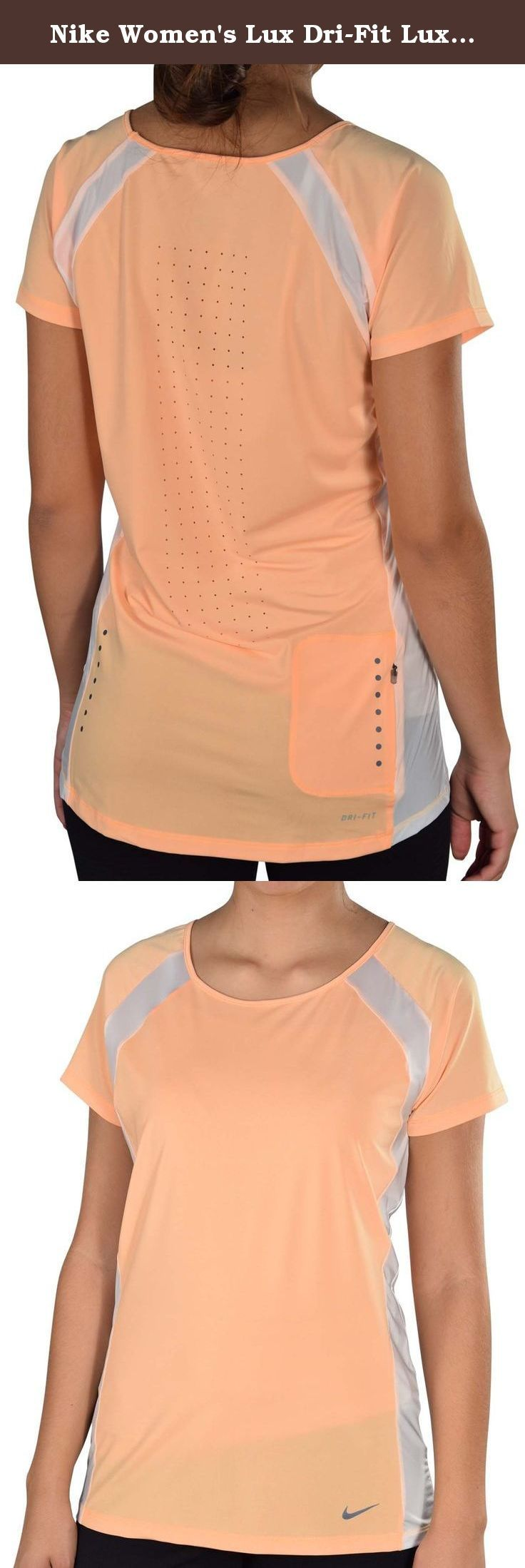 Nike Women's Lux Dri-Fit Lux Running Top-Orange-Medium. Nike Women's Lux Dri-Fit Lux Running Top The Nike Lux Women's Running Top is made with lightweight Dri-FIT fabric and features a perforated back panel for comfort and enhanced breathability. Item Features: Dri-FIT fabric to wick sweat away and help keep you dry and comfortable Scoop neck for comfort and a flattering fit. Raglan sleeves and contrast stretch panels for natural range of motion Laser-cut perforations at back for enhanced...