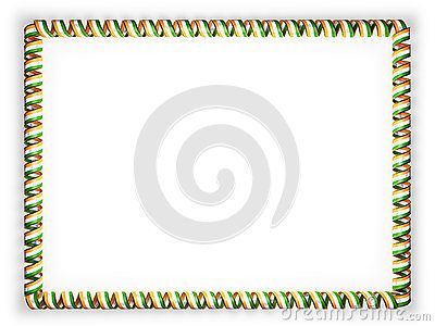 Frame and border of ribbon with the India flag, edging from the golden rope. 3d illustration.