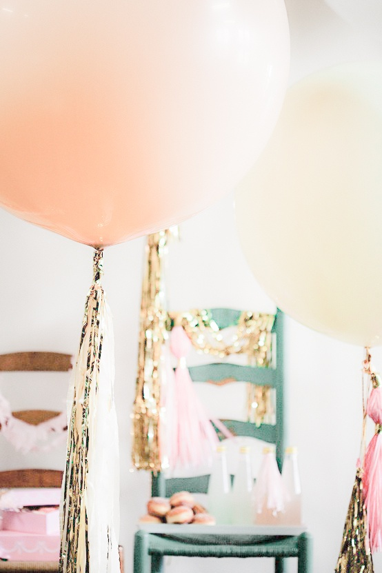 giant pretty pastel party balloons with gold tinsel! bridal shower?