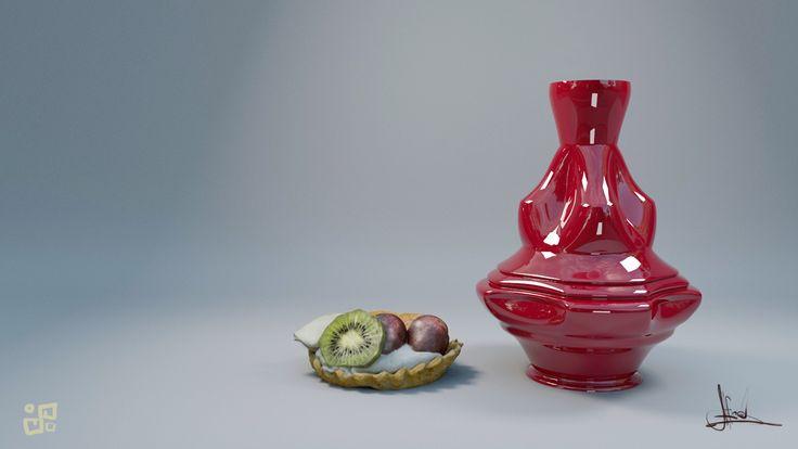 Red vase and dessert, POINT FROST on ArtStation at https://www.artstation.com/artwork/x9zzX